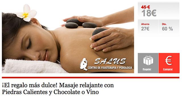 Masaje relajante con Piedras Calientes y Chocolate o Vino almeria