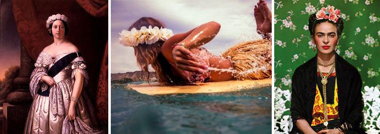 coronas flores en el pelo